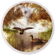 Two Ducks In A Pond Round Beach Towel