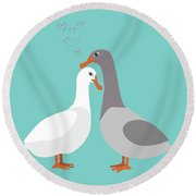 Two Ducks In Love Round Beach Towel