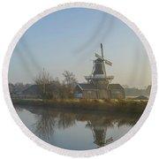 Two Dutch Windmills In The Fog Round Beach Towel
