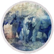 Two Elephants Round Beach Towel