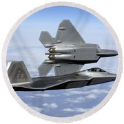 Two F-22a Raptors In Flight Round Beach Towel