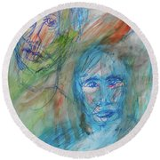 Two Faces Round Beach Towel