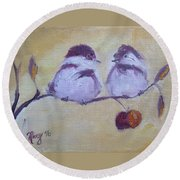Two Fat Chicks Round Beach Towel