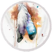 Two Feathers Round Beach Towel