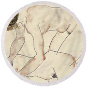 Two Female Nudes Round Beach Towel
