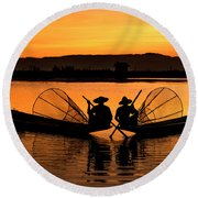Two Fisherman At Sunset Round Beach Towel