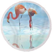 Two Flamingos Searching For Food Round Beach Towel by Janette Boyd