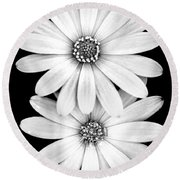 Two Flowers Round Beach Towel