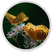 Two Fritillaries Round Beach Towel
