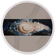 Two Galaxies Colliding Round Beach Towel