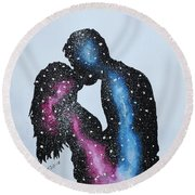 Round Beach Towel featuring the painting Two Galaxies In One Universe by Edwin Alverio