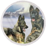 Round Beach Towel featuring the photograph Two German Shepherds by Janette Boyd and John Noyes