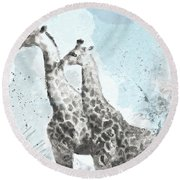 Two Giraffes- Art By Linda Woods Round Beach Towel