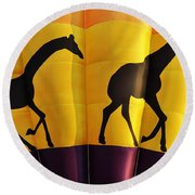 Two Giraffes Riding On A Hot Air Balloon Round Beach Towel