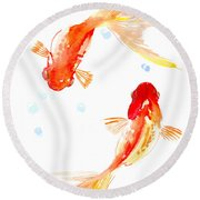 Two Goldfish Feng Shui Round Beach Towel