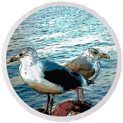 Two Gulls Round Beach Towel by Ann Tracy