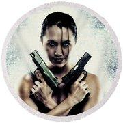 Lara Croft Round Beach Towel