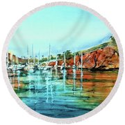 Two Harbors Catalina Morning Impressions Round Beach Towel