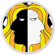 Two Heads Two Souls Round Beach Towel