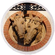 Round Beach Towel featuring the photograph Two Horses In The Wall by Menega Sabidussi