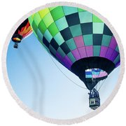 Two Hot Air Balloons Ascending Round Beach Towel