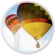 Two Hot Air Balloons Into The Sun Round Beach Towel