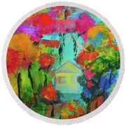 Two Houses Round Beach Towel by Haleh Mahbod