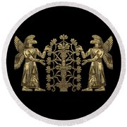 Two Instances Of Gold God Ninurta With Tree Of Life Over Black Canvas Round Beach Towel