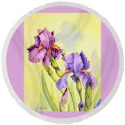 Two Irises  Round Beach Towel