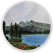 Round Beach Towel featuring the painting Two Jack Lake by Linda Feinberg