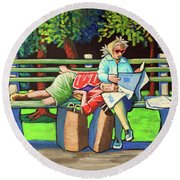 Two Ladies On Bench Round Beach Towel