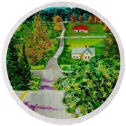 Two Lane Highway Round Beach Towel