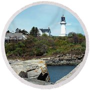 Two Lights - Maine Round Beach Towel by Joseph Hendrix