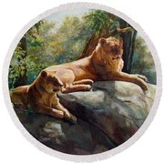 Round Beach Towel featuring the painting Two Lions - Forever And Always Together by Svitozar Nenyuk