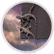 Two Lizards On The Edge Of The Roof Round Beach Towel