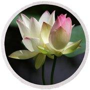 Two Lotus Flowers Round Beach Towel