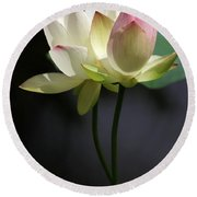 Two Lotus Flowers Round Beach Towel