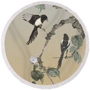 Two Magpies                       Round Beach Towel