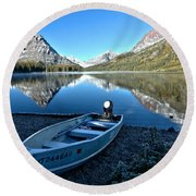 Round Beach Towel featuring the photograph Two Medicine Boat 2 by Adam Jewell