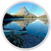 Round Beach Towel featuring the photograph Two Medicine Boat 4 by Adam Jewell
