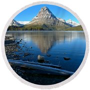 Round Beach Towel featuring the photograph Two Medicine Drift Log by Adam Jewell