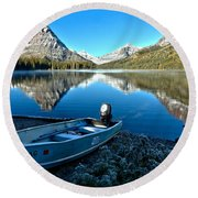 Round Beach Towel featuring the photograph Two Medicine Motorboat by Adam Jewell