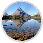 Round Beach Towel featuring the photograph Two Medicine Pano by Adam Jewell
