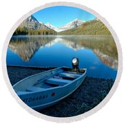 Round Beach Towel featuring the photograph Two Medicnie Boat 3 by Adam Jewell