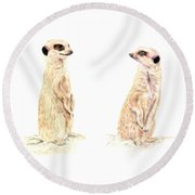 Round Beach Towel featuring the mixed media Two Meerkats by Elizabeth Lock