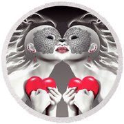 Two Merciful Hearts Round Beach Towel