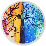 Two Moments Round Beach Towel