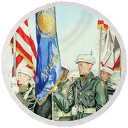 Two Months After 9-11  Veteran's Day 2001 Round Beach Towel