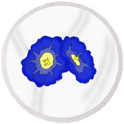 Two Morning Glories Round Beach Towel