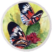 Round Beach Towel featuring the painting Two Of A Kind by Sam Sidders